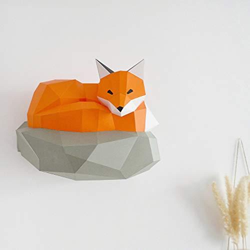 WXMYOZR Escultura De Bricolaje Decoración De La Pared De Papel Fox Trofeo 3D Animal Construcción De Bricolaje Papercraft De Cartón De Papel Trofeo Animal para Sala Juegos De Aprendizaje