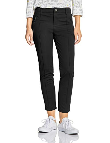 Street One Damen 372498 York Slim Fit Hose, Schwarz (Black 10001), 36 / 28L