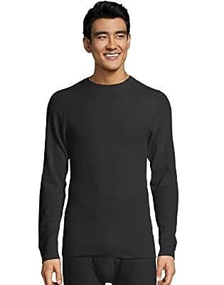 Hanes Men's Ultimate Thermal Crew Neck Long Sleeve T-Shirt with FreshIQ, X-Temp Technology & Organic Cotton Black