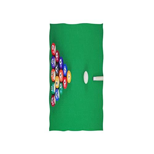 NBHBVGFC Toalla de baño suave con pelota de billar sobre mesa verde para hotel, spa, gimnasio, gimnasio, 30 x 15 pulgadas