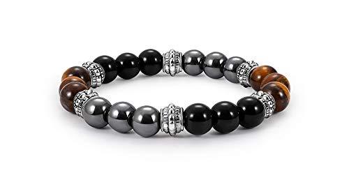 Armband, dreifacher Schutz aus Tigerauge, Obsidian und Hämatit