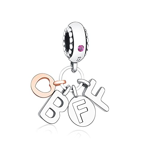 JIAQ Charm Bracelet 925 Sterling Silver Gold Gold Love Heart Best Friend Forever Bead Colgante Haciendo Berloque