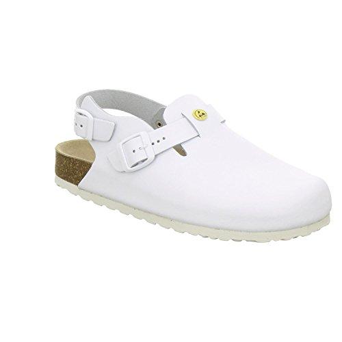 AFS-Schuhe 31940 ESD-Clogs, Bequeme Haus-Schuhe für Damen und Herren, praktische Arbeitsschuhe, hochwertiges, echtes Leder, modische, verstellbare Pantoletten, Made in Germany Größe 44 EU Weiß (weiß)