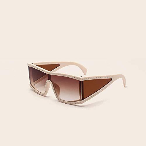 YANPAN Gafas De Sol Cuadradas con Remache De Marco Grande De Moda, Gafas De Personalidad Fresca, Gafas De Sol De Calle De Tendencia Masculina, Marco De Arroz, Pieza De Té