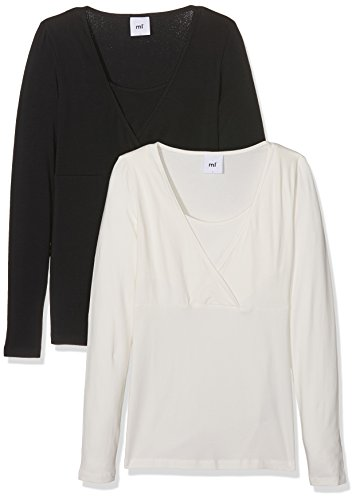Mamalicious MLLEA Organic TESS L/S Top NF 2PACK Umstandslangarmshirt, Noir (Black Pack:Snow White), 42 (Taille Fabricant: X-Large) (Lot de 2) Femme