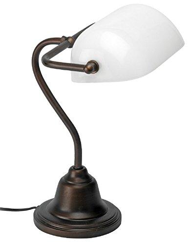 Mathias 3450895 Lampe Banquier Fer/opaline H36 L30, Métal, E27, 52 W