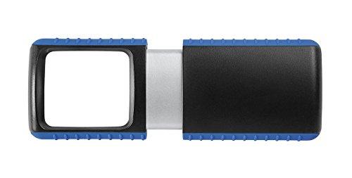 Wedo 271741503 Lupe Outdoor Rechtecklupe (mit LED Beleuchtung inklusive Batterie) schwarz/blau
