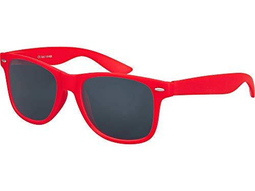 Balinco Hochwertige Nerd Sonnenbrille Rubber im Retro Stil Vintage Unisex Brille mit Federscharnier - 96 verschiedene Farben/Modelle wählbar (Rot - Smoke)