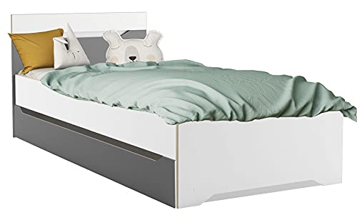 Miroytengo Cama con cajón Genius habitación Dormitorio Juvenil Color Blanco y Gris Infantil Estilo Moderno 90x200 cm
