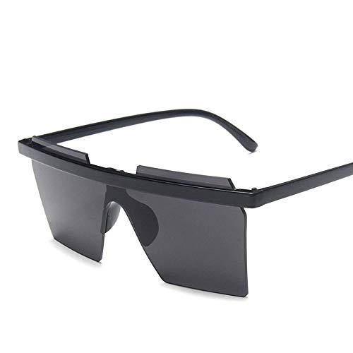 Gafas De Sol Diseñador De La Marca De Moda Gafas De Sol Cuadradas Mujeres Marco Delgado Vintage Flat Top Lente Siamés Espejo Gafas De Sol para Mujer Uv400 Negro