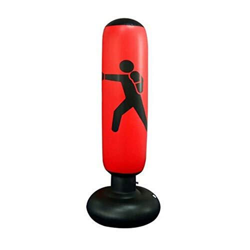 WingFly Sacco da Boxe, Sacco da Boxe da Terra 160 cm, Punching Sacco da Boxe da Boxe, Colonna Tumbler, Tumbler Gonfiabile per Addominali Fitness, Colonna da Combattimento per Bambini Adulti (Rosso)
