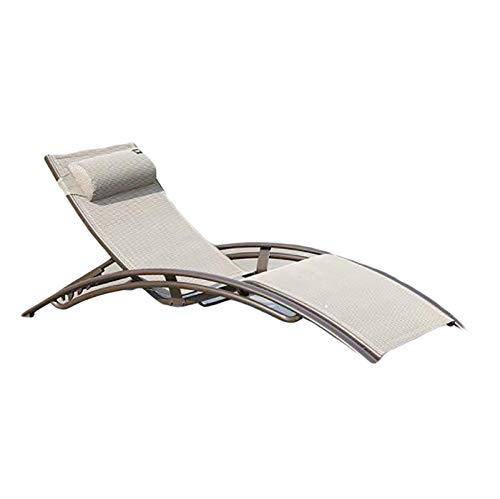 Bias&Belief Sun Lounger Recliner Aluminum Chaise Lounges with 5 Adjustable Backrest Head Cushion Reclining Chair for Outdoor Garden Backyard Patio Poolsid