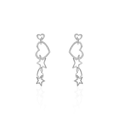 Stroili - Orecchini cuore e stella pendenti in acciaio rodiato diamantato per Donna - LOL