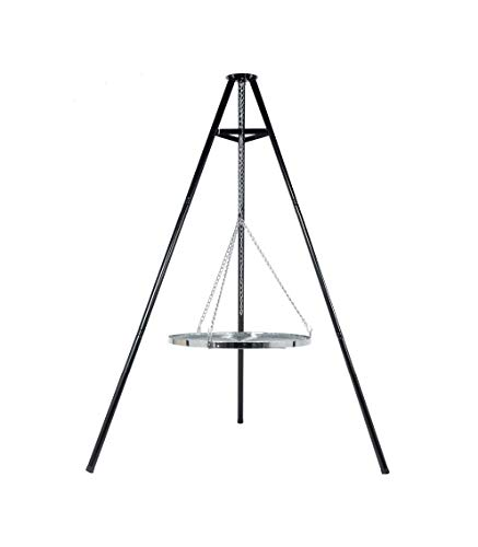 BBQ TRIPOD WITH HANGING 65CM DIA CHROMED GRILL WITH A FREE CARRY/STORAGE BAG