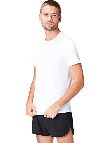 Marca Amazon - Activewear Camiseta Técnica Hombre, Blanco (White), M, Label: M