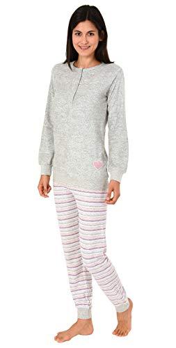 NORMANN-Wäschefabrik Damen Frottee Pyjama mit Bündchen & Herz Motiv, auch in Übergrößen bis 60/62-28120193360, Farbe:grau, Größe2:40/42
