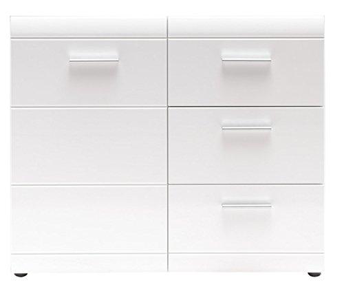 PEGANE Commode de 3 tiroirs et 1 Porte en Bois Coloris Blanc Brillant - Dim : L96 x H86 x P40 cm