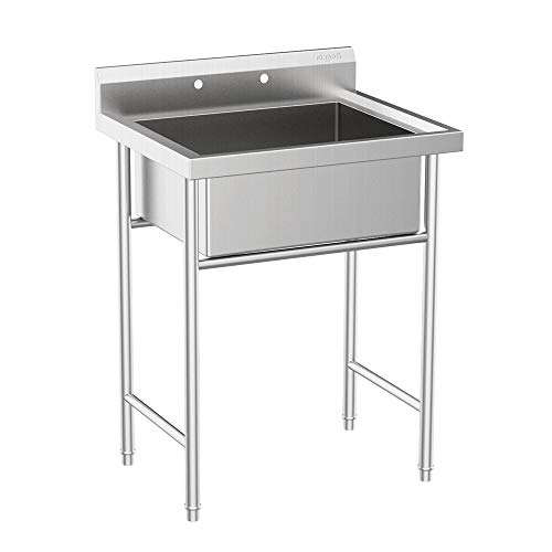 VINGLI Upgraded Free Standing 304 Stainless Steel Commercial Sink Utility Sink for Garage, Restaurant, Laundry Room, Workshop –Inner Tub Size 22