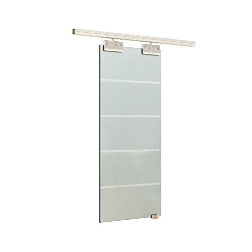 Preisvergleich Produktbild Homcom Glasschiebetür Schiebetür Tür Zimmertür mit Griffstange einseitig satiniert / Streifen 2050 x 775 mm,  1 Stück,  E7-0018
