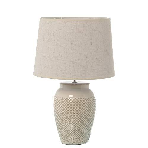 DONREGALOWEB Lámpara de sobremesa de cerámica con Pantalla en Blanco