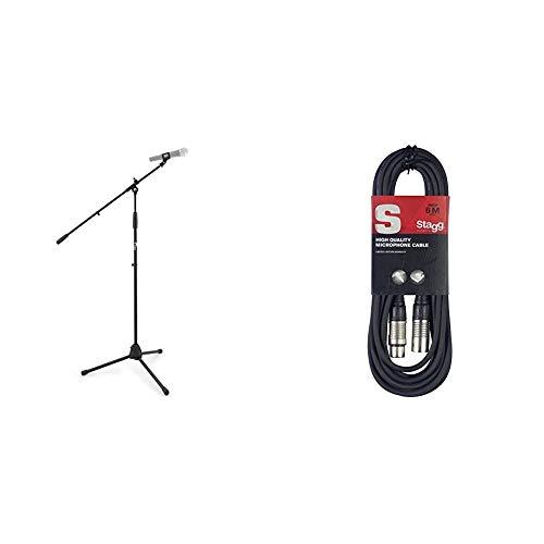 Tiger MCA68-BKSoporte de mesa para micrófono con jirafa y pinza, color negro + Stagg SMC6Cable para micrófono XLRf a XLRm, Negro, 6 m