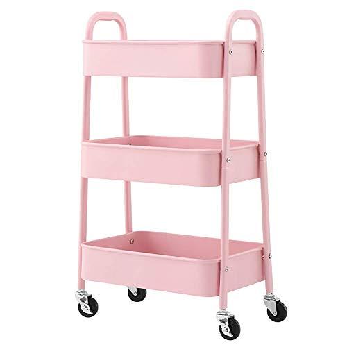 Estantes de cocina, Almacenamiento Rack Sirviendo Carro Médico Carro Herramienta 3 niveles Carro de salón de belleza con asa, Tatuaje de metal Peinado Carrito con ruedas, Pink Tool Utility Cart for He