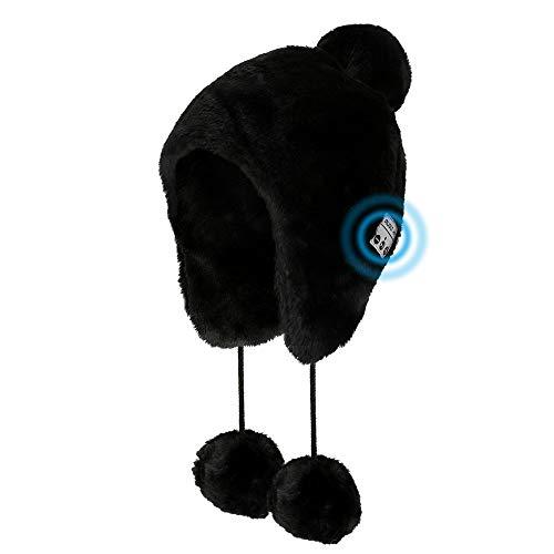 Brynnl Bonnet tricoté pour femme avec casque Bluetooth - Bonnet d'hiver en fourrure synthétique - Bonnet pour femme - Bonnet chaud pour l'extérieur et l'hiver