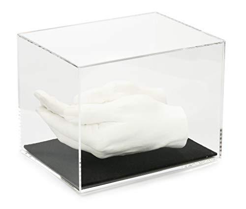 Lucky Hands Acrylglasvitrinen mit Filzboden in verschiedenen Größen ohne individuelle Beschriftung (15 x 15 x 20 cm, Schwarz)