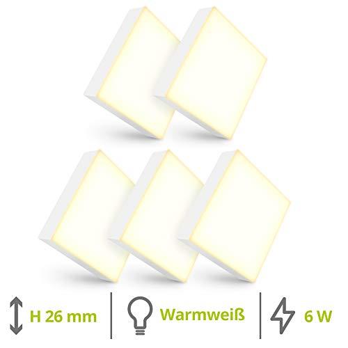 linovum 5er Set paniled Mini LED Aufbau Spot flach warmweißes Licht 6 Watt 230 Volt - eckiger Deckenleuchten Spot 90x90x26mm