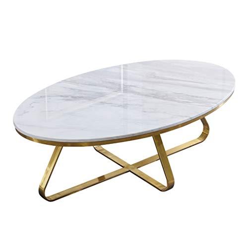 Mesa de Centro Ovalada, Tablero de Mesa de mármol Natural, Marco Chapado en Oro Cepillado Metal, Forma Simple, Conveniente para la Sala de Estar del Hotel, Blanco
