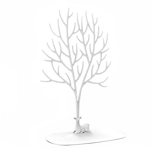 Présentoir à bijoux / porte-bijoux en forme d'arbre avec motif de cerf Sika, pour bagues/collier, cadeau d'anniversaire/Noël, blanc, Taille L