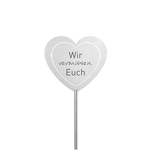 Fritz Cox® - Grabstecker 'Vermissen'; Grabschmuck wetterfest, in Liebe für einen geliebten Menschen; eine Erinnerung aus Edelstahl - ideal auch für EIN Urnen-Grab (Wir vermissen euch, Herz)