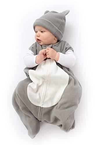 Cuddle Club Schlafsack Baby und Neugeborene - Tragbare Decke - Baby Schlafsack aus Fleece - BearWBGrey/WhiteXL