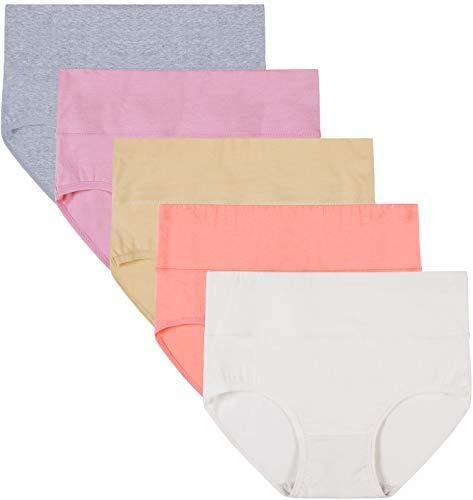 INNERSY Unterhosen Damen Atmungsaktiv Baumwolle Pantys Hohe Taille Sommer Slips 5 Pack (M, Bunter Sommer)