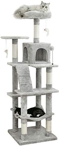 Mwpo キャットタワー 大きいハンモック キャットランド 据え置き スリム設計 ライトグレー 2つ高いベッド 多頭飼いも (高さ162cm) 130B