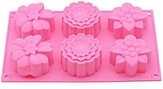 VIQILANY 6 Holes Flowers Shape Silicone Molds Handmade Soap Mold Mould Muffin Cup Mould DIY Baking Decorating Tools Bakewa...