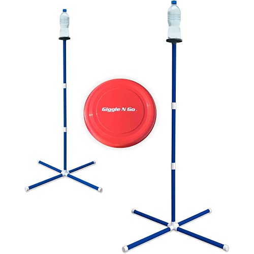 Giggle N Go Yard Games for Adults and Kids - Outdoor Polish Horseshoes Game Set for Backyard and Lawn with Frisbee, Bottle Stands, Poles and Storage Bag