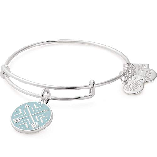 Alex and Ani Path of Symbols Expandable Bangle for Women, Arrows of Friendship Charm, Shiny Silver Finish, 2 to 3.5 in