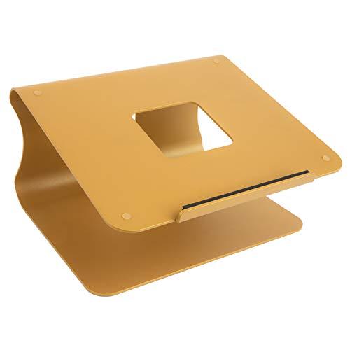 mStand Laptop Ständer - Mit Minimal Design - Für Laptop, Macbook, Notebook - Haltbares Aluminium Material mit verstellbarem Laptop Riser - Ergonomisch und Praktisch für Ihre Workstation (gold)