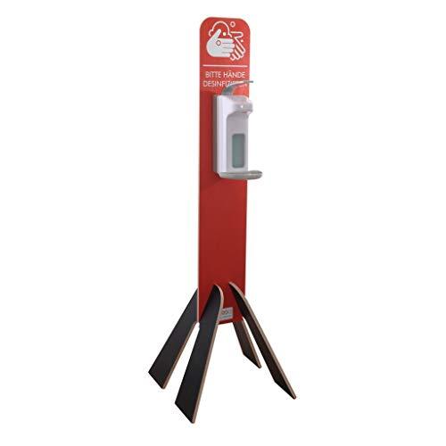 Hygienestation aus Holz für Kunden und Mitarbeiter - mobile Handdesinfektion mit Seifenspender