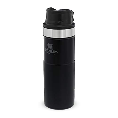 Stanley The Legendary Classic Vacuum Trigger-Action Travel Mug .47L Matte Black 18/8 Stainless Steel Double-Wall Vacuum Insulation Water Bottle Leakproof Dishwasher Safe Naturally Bpa-Free