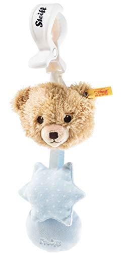 Steiff Schlaf-gut-Bär Kinderwagenspielzeug - 20 cm - Schlaf-gut-Bär mit Rassel und Quietsche - Kuscheltier für Babys - weich & waschbar - beige/blau (240959)
