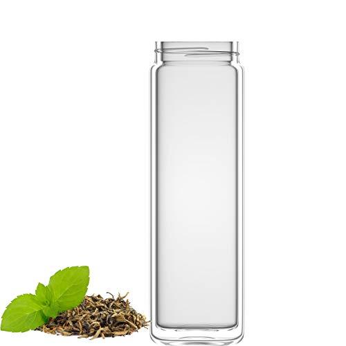 amapodo Trinkflasche aus Glas doppelwandig, Teeflasche Ersatzglas - Tee Flasche einzeln 400ml, Tea Maker Glass (Clear Design)