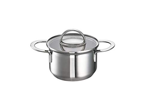 Schulte-Ufer Mini-Casserole Little Lilly, Small Pot, 18/10 Stainless Steel, Glass, Ø 12 cm, 950 ml, 64018-12