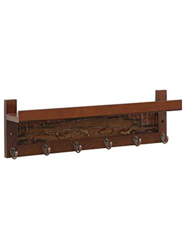 WAJI Wandgemonteerde kapstok decoratie rek, houten muur key rack link opslag, witte zwevende rack opbergdoos voor ingang, keuken, badkamer, woonkamer