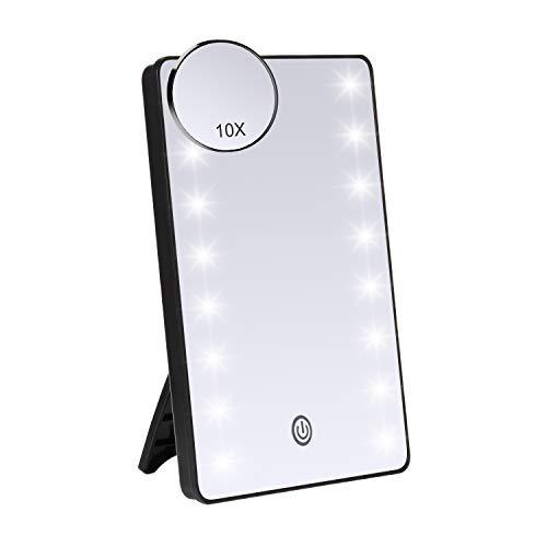 JessLab Beleuchteter Make-up-Spiegel, LED, 1 x 10-facher Vergrößerungsspiegel, LED-beleuchtet, Touch-Dimmer, Kosmetikspiegel, kabelloser Rasierspiegel, Badezimmer-Zubehör schwarz
