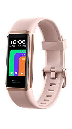 YAMAY Fitnessuhr für Damen Herren,1.05 Zoll Touch-Farbdisplay Fitness Tracker,Smartwatch mit Alexa Integriert,Pulsoximeter,Pulsuhr,Personalisiert Zifferblättern,Schrittzähler Uhr,14 Trainingsmodi