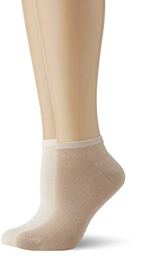 Living Crafts Sneaker-Socken, 2er-Pack 35/36, natural/taupe