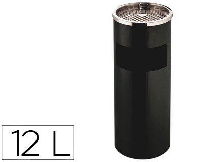 Q-Connect 936099 Cendrier Corbeille Métallique Cylindrique 12 L 21,5 x 65 cm Grille Retrait Mégots Noir