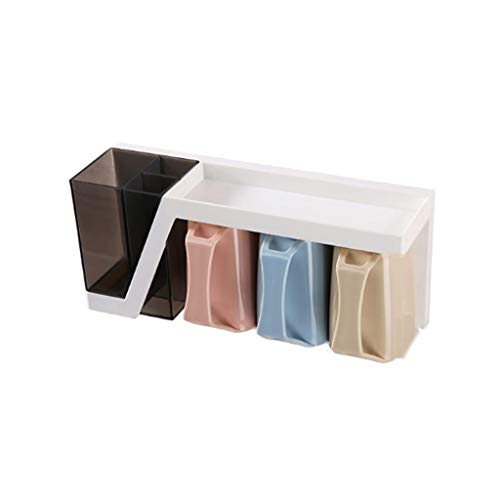 Accessoires de Salle de Bains Porte-Brosse à Dents Aspiration Distributeur de Dentifrice Ventouse Boîte de Rangement Murale pour Salle de Bains